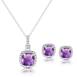Dolce Giavonna Sterling Silver Cushion-cut Amethyst Necklace and Earrings Set