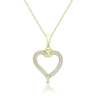 Finesque Gold Over Sterling Silver Diamond Accent Heart Necklace (I-J, I2-I3)