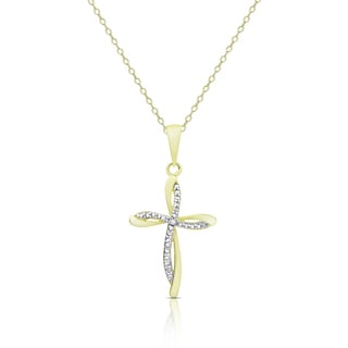Finesque Gold Over Silver Or Sterling Silver Diamond Accent Cross Necklace