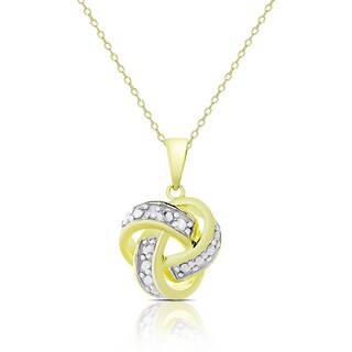 Finesque Gold Over Sterling Silver Diamond Accent Love Knot Necklace