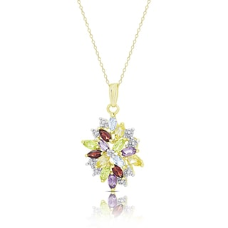 Dolce Giavonna Gold Over Sterling Silver Multi Gemstone and Diamond Accent Flower Necklace