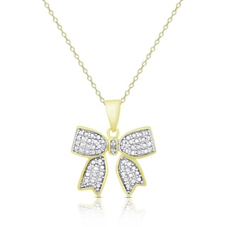 Finesque Gold Over Sterling Silver Diamond Accent Bow Necklace