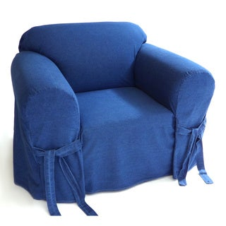 Classic Slipcovers Blue Authentic Denim 12-ounce 1-piece Chair Slipcover