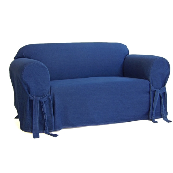 Authentic Denim One Piece Loveseat Slipcover Free Shipping Today 19623702