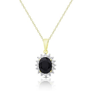 Dolce Giavonna Gold Over Sterling Silver Sapphire and White Topaz Oval Necklace