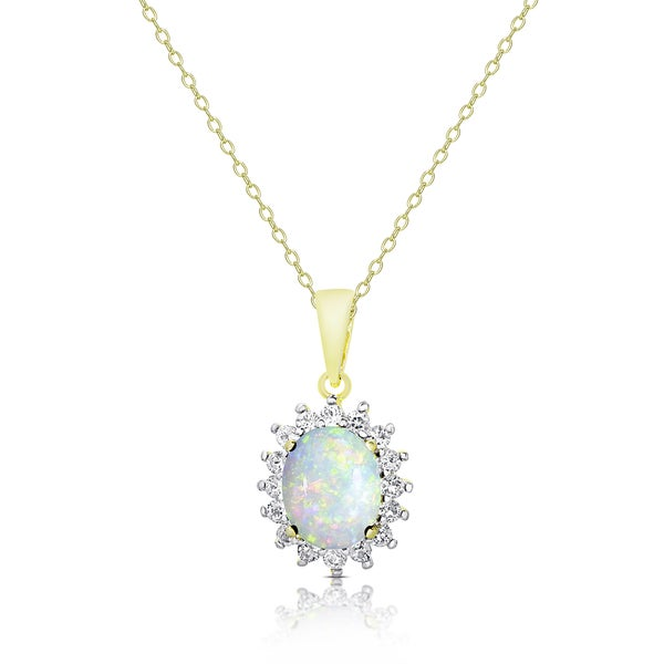 f9993bdf9df7ee Dolce Giavonna Gold Over Sterling Silver Opal and White Topaz Oval Necklace