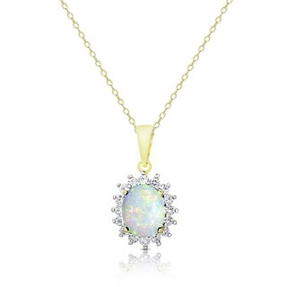 Dolce Giavonna Gold Over Sterling Silver Opal and White Topaz Oval Necklace