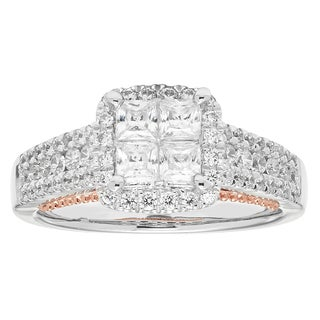 Boston Bay Diamonds 14k White and Rose Gold 1ct TDW Diamond Princess-cut Illusion Head Engagement Ring (H-I, SI2-I1)