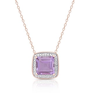 Dolce Giavonna Rose Gold Over Sterling Silver Amethyst and Diamond Accent Necklace