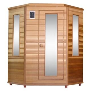 Health Mate Enrich Corner Infrared 3 Person Canadian Western Red Cedar Sauna / HM-ASE-3C-3D-CL