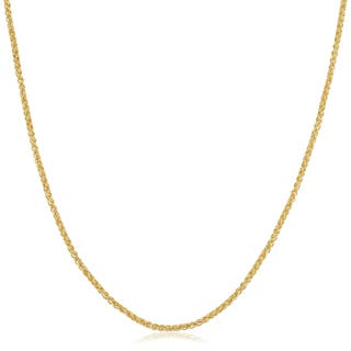 Gold chains necklaces for less overstock fremada 14k yellow gold filled 15mm round wheat chain necklace more options available mozeypictures Image collections