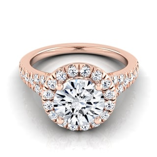 14k Rose Gold 1 1/2ct TDW Round Diamond Halo Engagement Ring (H-I, VS1-VS2)