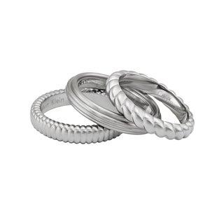 Calvin Klein Waves Stainless Steel Women's Fashion Ring (Set of 3)