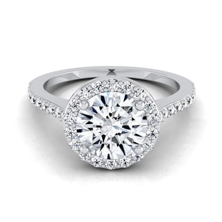14k White Gold 1 1/3ct TDW Round Diamond Halo Pave Engagement Ring (H-I, VS1-VS2)