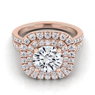 14k Rose Gold 1 7/8ct TDW Round Diamond Double Square Halo Engagement Ring (H-I, VS1-VS2)