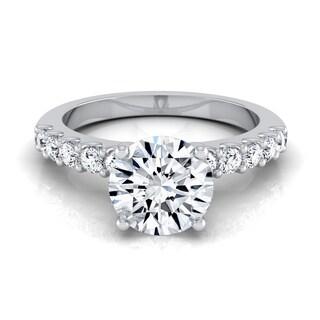 14k White Gold 1 1/3ct TDW Round Diamond Shared Prong Engagement Ring (H-I, VS1-VS2)