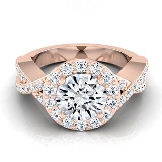 14k Rose Gold 1 3/4ct TDW Round Diamond Halo Engagement Ring (H-I, VS1-VS2)
