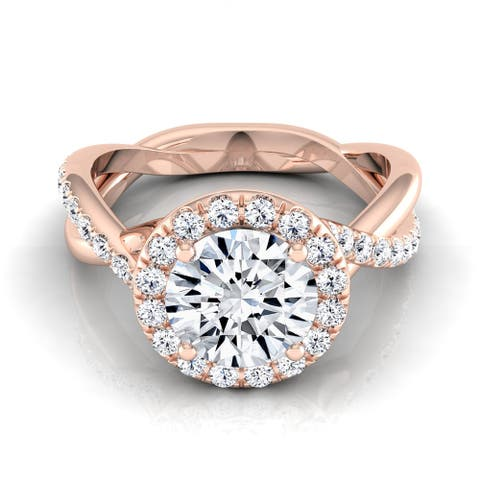 14k Rose Gold 1 2/5ct TDW Round Diamond Halo Infinity Engagement Ring