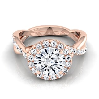 14k Rose Gold 1 2/5ct TDW Round Diamond Halo Infinity Engagement Ring