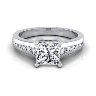 14k White Gold 1 1/6ct TDW Round Diamond Channel Engagement Ring (H-I, VS1-VS2)
