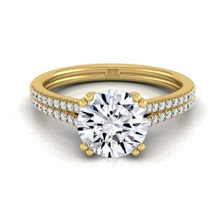 14k Yellow Gold 1 1/5ct TDW Round Diamond 2-row Cathedral Setting Engagement Ring (H-I, VS1-VS2)