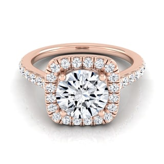 14k Rose Gold 1 1/2ct TDW Round Diamond Square Halo Engagement Ring (H-I, VS1-VS2)