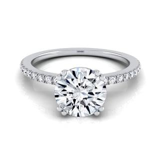 14k White Gold 1 1/6ct TDW Round Diamond Classic Petite Split Prong IGI-certified Engagement Ring