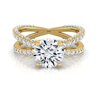 14k Yellow Gold 2 1/4ct TDW Round Diamond Crossover Engagement Ring (More options available)