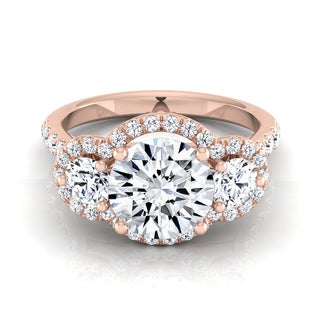 14k Rose Gold 1 3/4ct TDW Round 3-stone Diamond Engagement Ring (H-I, VS1-VS2)