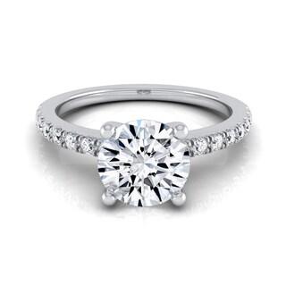 14k White Gold 1 1/5ct TDW Round Center Classic Petite Split Prong Diamond Engagement Ring (H-I, VS1-VS2)