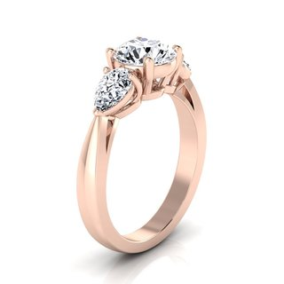 14k Rose Gold 2ct TDW Center and Pear Shape Sides 3 Stone Engagement Ring
