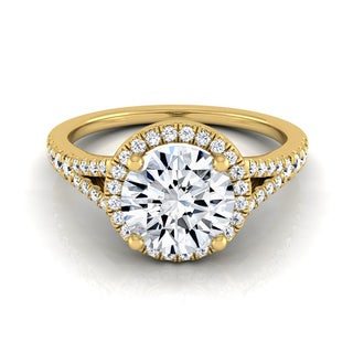 14k Yellow Gold 1 1/4ct TDW Round Diamond Halo Scroll Engagement Ring (H-I, VS1-VS2)
