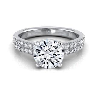 14k White Gold 1 1/4ct TDW Round Diamond Double Row Engagement Ring (H-I, VS1-VS2)