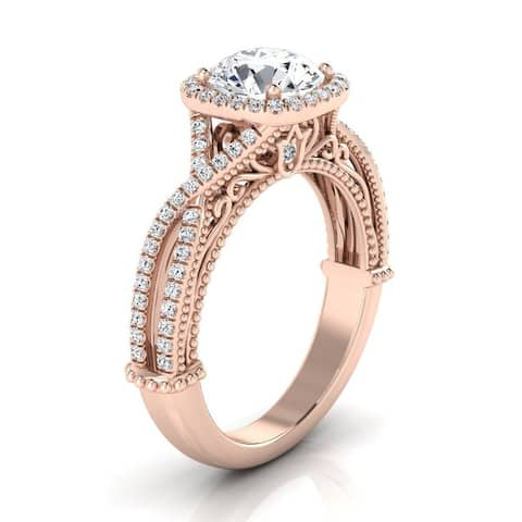 14k Rose Gold 1 1/3ct TDW Round Diamond Square Halo Infinity Shank Ring