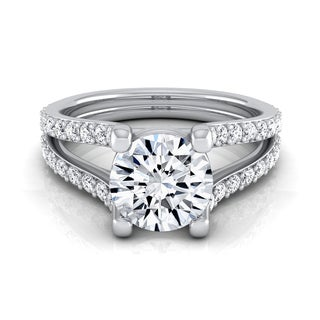 14k White Gold 1 1/2ct TDW Round Diamond Pave Engagement Ring (H-I, VS1-VS2)