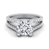 14k White Gold 1 1/2ct TDW Round Diamond Pave Engagement Ring