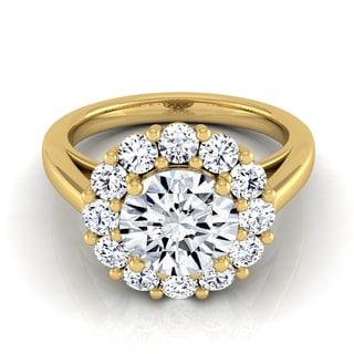 14k Yellow Gold 1 7/8ct TDW Round Diamond Prong-set Halo Engagement Ring (H-I, VS1-VS2)