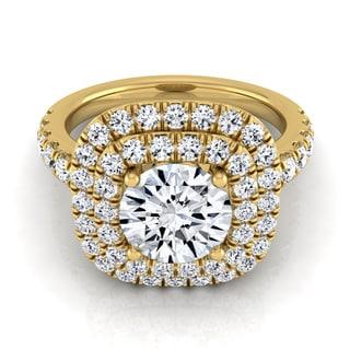 14k Yellow Gold 1 1/10ct TDW Round Diamond Double Entourage Engagement Ring (H-I, VS1-VS2)