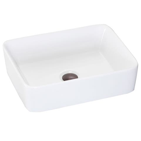 Vitreous China Clay Rectangle Vessel Bathroom Sink