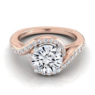 14k Rose Gold 1 2/5ct TDW Diamond Pave Wave Design Engagement Ring (H-I, VS1-VS2)
