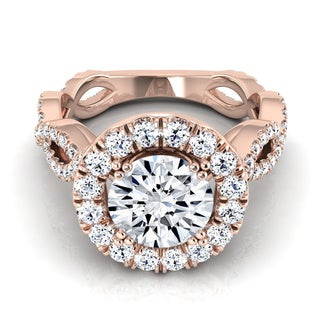 14k Rose Gold 1 7/8ct TDW Round Diamond Halo Ribbon Twist Engagement Ring (H-I, VS1-VS2)