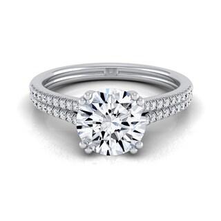 14k White Gold 1 1/5ct TDW Round Diamond 2-row Double Prong Engagement Ring (H-I, VS1-VS2)
