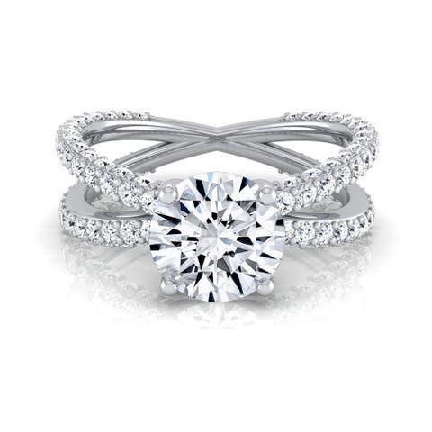 14k White Gold 2 1/4ct TDW Round Diamond Crossover Shank Engagement Ring