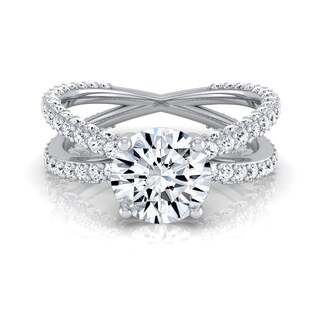 14k White Gold 2 1/4ct TDW Round Diamond Crossover Shank Engagement Ring (H-I, VS1-VS2)