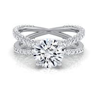 14k White Gold 2 1/4ct TDW Round Diamond Crossover Shank Engagement Ring