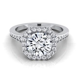 14k White Gold 1 1/3ct TDW Round Diamond Octagon Halo Engagement Ring (H-I, VS1-VS2)