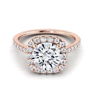 14k Rose Gold 1 1/3ct TDW Round Diamond Halo Engagement Ring (H-I, VS1-VS2)