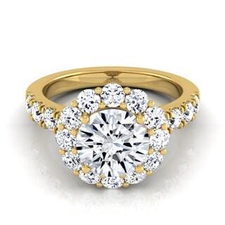 14k Yellow Gold 2 1/10ct TDW Round Diamond Halo Engagement Ring (H-I, VS1-VS2)
