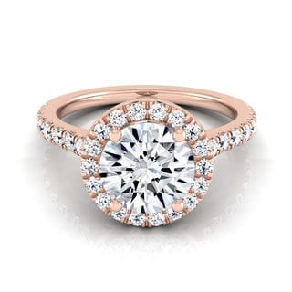 14k Rose Gold 1 2/5ct TDW Round Diamond Round Halo Engagement Ring (H-I, VS1-VS2)