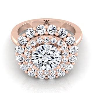 14k Rose Gold 2ct TDW Round Diamond Double Halo Engagement Ring (H-I, VS1-VS2)